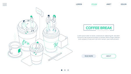 Coffee break - line design style isometric web banner on white background with copy space for text. A website header with business people, workers on big cups, working with laptop, discussing projects