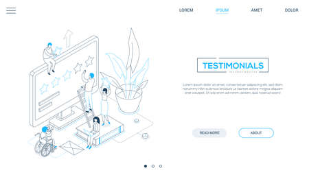 Testimonials - line design style isometric web banner on white background with copy space for text. Header with male, female workers making star rating on computer screen, books, plant. Feedback theme Illustration