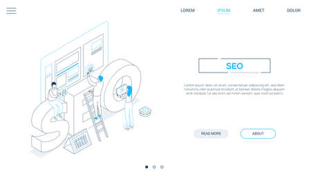 Seo optimization - line design style isometric web banner on white background with copy space for text. A header with male and female specialists placing buttons on website page, image of a calendar Illusztráció