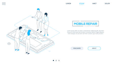 Mobile repair service - line design style isometric web banner on white background with copy space for text. A header with workers fixing a smartphone, changing the broken screen, glass, screwdriver