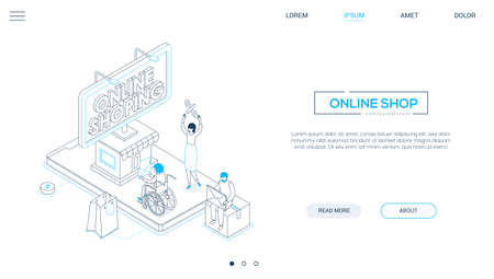 Online shopping - line design style isometric web banner on white background with copy space for text. A header with male, female characters, people making orders, big smartphone with a storefront