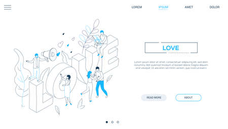 Valentines Day - line design style isometric web banner on white background with copy space for text. A header with male, female characters congratulating each other on 14th February, big love sign Illustration