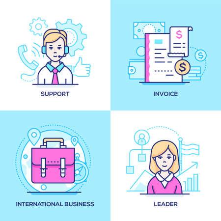 Biznes - zestaw kolorowych ilustracji w stylu projektowania linii. Zdjęcia operatora call center, paragon, walizka, menedżerka. Wsparcie techniczne, faktura, komunikacja międzynarodowa, koncepcje lidera