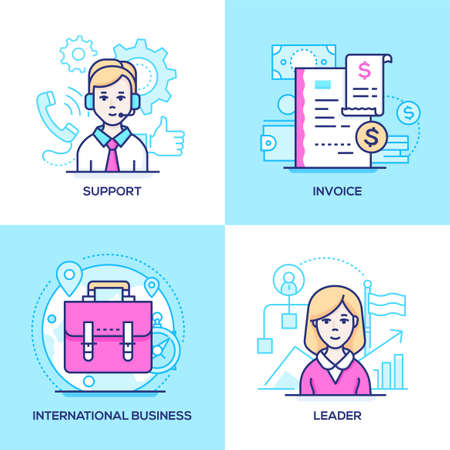 Business - set of line design style colorful illustrations. Images of call center operator, receipt, suitcase, female manager. Technical support, invoice, international communication, leader concepts