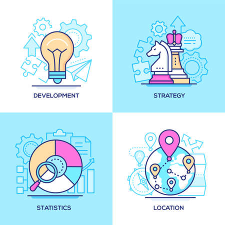 Business - set of line design style colorful illustrations. Images of a lightbulb, chess knight and pawn, round diagram, globe with map pointers. Development, strategy, statistics, location concepts