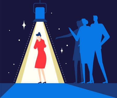 Shame - modern colorful flat design style illustration on blue background. A composition with a sad girl feeling guilty or ashamed, standing alone under the light. Psychological problems concept Ilustracja