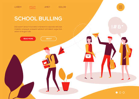 School bullying - colorful flat design style web banner