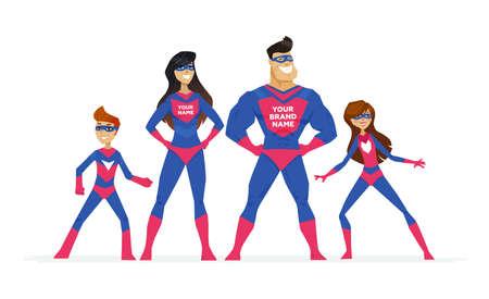 Super familia - personajes de dibujos animados personas ilustración colorida