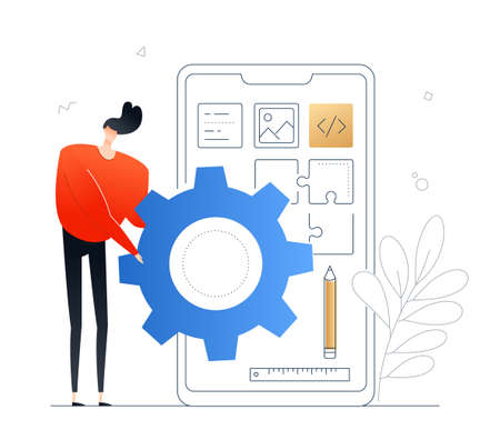 Mobile app development - flat design style colorful illustration on white background. A composition with a character, cute developer, programmer designing a smartphone interface, holding a gear