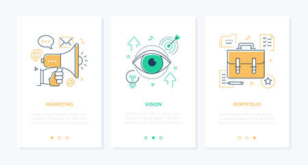 Business and management - set of line design style vertical web banners with copy space for text. Images of megaphone, eye, suitcase, target, lightbulb, check list. Marketing, vision, portfolio themes Illustration