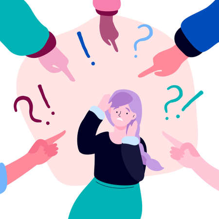 Shame - modern colorful flat design style illustration on white background. A composition with a sad girl feeling guilty or being bullied, fingers pointing at her, exclamation and question marks