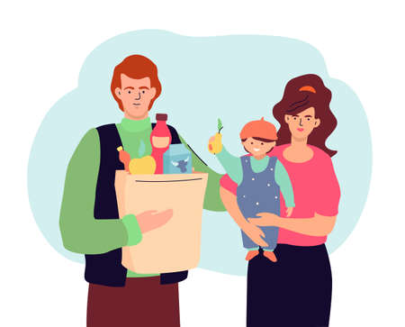 Family shopping - modern colorful flat design style illustration. A composition with cheerful parents with a baby, father holding a paper bag with products, milk, juice, fruits. Healthy food concept