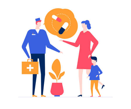 Visiting a doctor - colorful flat design style illustration on white background. A composition with a physician in overall prescribing pills to a boy standing with mother. Medicine, healthcare concept Ilustração