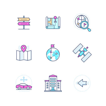 Geolocation - modern vector line design style icons set. High quality colorful images with map pointers, building, globe, road signs, flag, satellite, car route, arrows, directions and crossroads