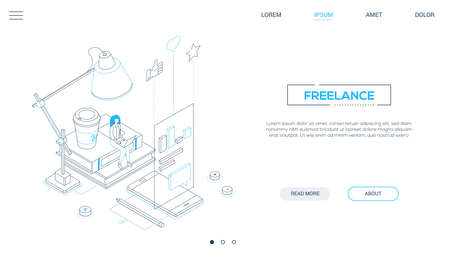Freelance worker - line design style isometric web banner on white background with copy space for text. A header with a woman working, studying at laptop, images of smartphone, coffee cup, lamp, books