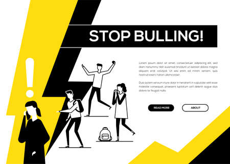 Stop bullying - flat design style web banner with copy space for text. A composition with sad girl feeling ashamed, a group of teenagers mocking her. Psychological problems at school concept