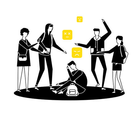 Bullying - modern colorful flat design style illustration. Black, white and yellow composition with a sad boy feeling ashamed, group of teenagers mocking him. Psychological problems at school concept