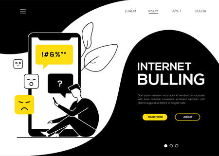 Internet bullying - flat design style web banner Illustration