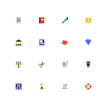 Finance and office work - colorful material design icons set