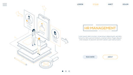 HR management - line design style isometric web banner 矢量图像