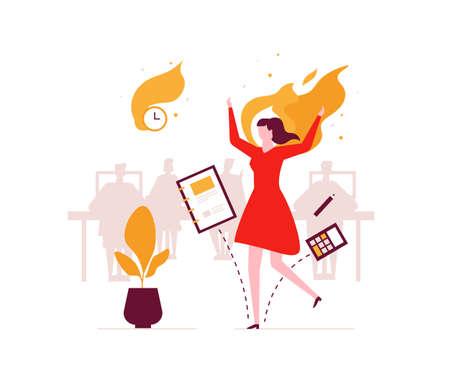 Burnout di lavoro - illustrazione di stile moderno design piatto. Una composizione insolita con un'impiegata in fiamme, che ha una scadenza. Stress sul concetto di lavoro Vettoriali