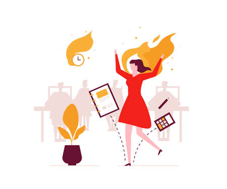 Job burnout - modern flat design style illustration. An unusual composition with a female office worker on fire, having a deadline. Stress at work concept Vetores