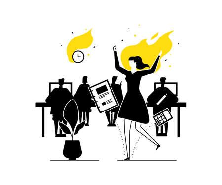 Burnout di lavoro - illustrazione di stile moderno design piatto. Composizione insolita nera, bianca e gialla con un'impiegata in fiamme, che ha una scadenza. Stress sul lavoro, concetto di gestione del tempo