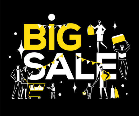 Big Sale - flat design style vector illustration. High quality black, white and yellow composition with male, female characters, families with shopping bags, cart. Discount, special offer concept Stock Vector - 128175753