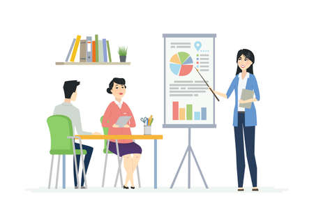 Business Meeting - modern vector cartoon characters illustration