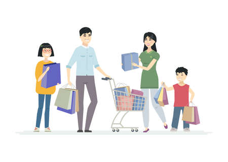 Happy Chinese family doing shopping - cartoon people characters illustration on white background. Smiling parents with children, teenagers standing with a cart, carrying bags, presents Illustration