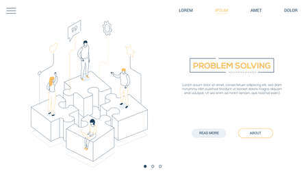 Problem solving - line design style isometric web banner on white background with copy space for text. Header with male, female business people, colleagues standing on puzzle pieces. Teamwork concept Stock Illustratie
