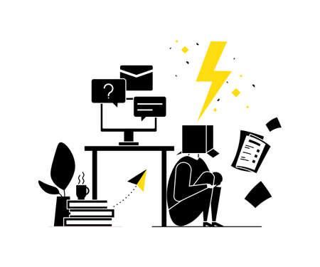 Job burnout - modern flat design style illustration. Black, white and yellow composition with a tired office worker with a box on his head, having too much work, hiding under the table. Stress at work Illustration