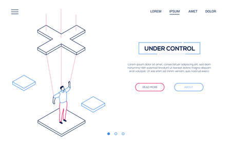 Under control - line design style isometric web banner