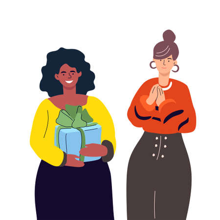 Happy birthday - modern colorful flat design style illustration on white background. High quality composition with female characters, a girl holding a present, gift, getting a surprise from her friend