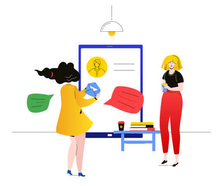 Customer communications - flat design style colorful illustration on white background. A composition with female colleagues, office workers chatting online with a client via smartphone, writing email Çizim