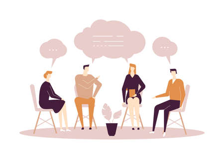 Group therapy - modern flat design style illustration on white background. High quality composition with men and women sharing their emotions and feelings, talking. Psychological problems concept