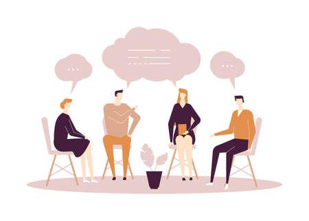 Terapia di gruppo - illustrazione di stile moderno design piatto su sfondo bianco. Composizione di alta qualità con uomini e donne che condividono le loro emozioni e sentimenti, parlando. Concetto di problemi psicologici Vettoriali