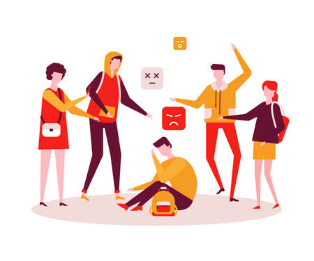 Bullying - modern colorful flat design style illustration on white background. A composition with a sad boy feeling ashamed, a group of teenagers mocking him. Psychological problems at school concept Illustration