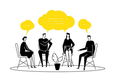 Group therapy - modern flat design style illustration on white background. Black and yellow composition with men and women sharing their emotions and feelings, talking. Psychological problems concept