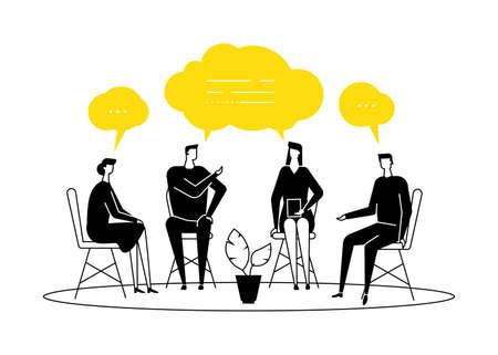 Terapia di gruppo - illustrazione di stile moderno design piatto su sfondo bianco. Composizione nera e gialla con uomini e donne che condividono le loro emozioni e sentimenti, parlando. Concetto di problemi psicologici Vettoriali