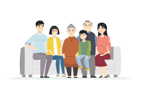 Happy Chinese family - cartoon people characters illustration on white background. High quality composition with cheerful parents sitting on a sofa with their teenage daughter and son, grandparents Ilustração