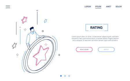 Rating section - line design style isometric web banner on white background with copy space for text. Unusual website header with a man, manager holding big button with a star, Çizim