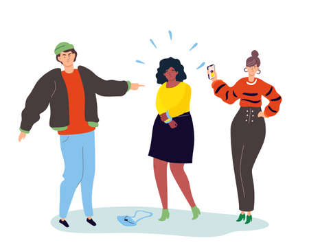 Bullying - modern colorful flat design style illustration on white background. A composition with teenagers mocking a girl, pointing at her, taking pictures. Social issues, problems concept