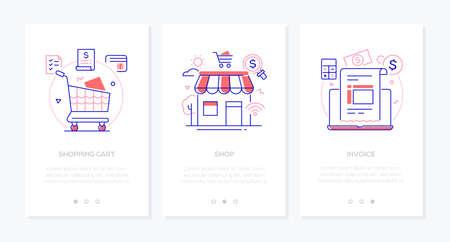 E-commerce - zestaw pionowych banerów internetowych w stylu projektowania linii na białym tle z miejsca kopiowania tekstu. Obrazy listy, karty bankowej, paragonu, kalkulatora, laptopa. Koszyk, sklep, koncepcje faktur