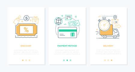 E-commerce - ensemble de bannières web verticales de style design de ligne sur fond blanc avec espace de copie pour le texte. Images d'une étiquette avec signe de pourcentage, carte bancaire, camion. Remise, mode de paiement, livraison Vecteurs