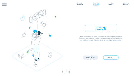 Love concepts - line design style isometric web banner on white background with copy space for text. A linear website header with a woman and man on a date, hugging, congratulating each other, hearts