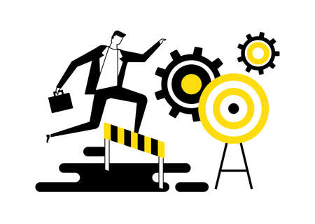 Goal achievement - flat design style vector illustration. Black, white and yellow composition with a businessman jumping over obstacles, hurdles on the way to the target overcoming difficulties