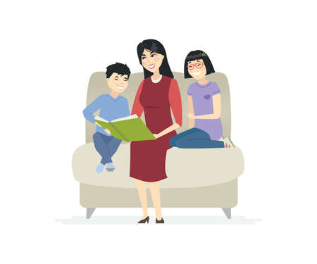 Mother reading a fairytale - cartoon people characters illustration on white background. Young smiling woman with her two children sitting on a chair holding a book. Happy Chinese family concept Illustration