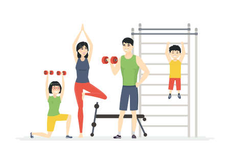Chinese family at the gym - cartoon people characters isolated illustration on white background. Young parents with children doing exercises, lifting weight, practicing yoga, handing on horizontal bar