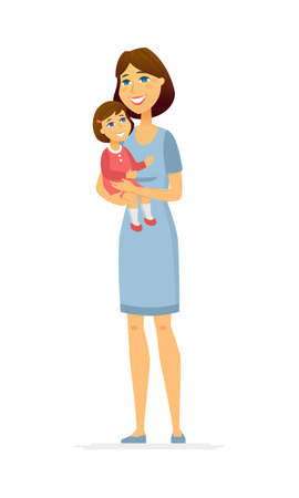 Mother and daughter - cartoon people characters illustration isolated on white background. A composition with a smiling woman, parent holding the cute kid in her arms. Happy family, childhood concept